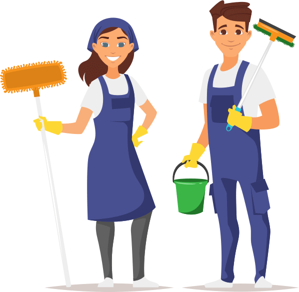 animated man and woman holding cleaning supplies ready to clean