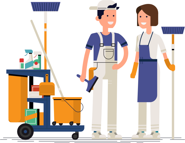 two cartoon cleaners fully equipped with cleaning materials