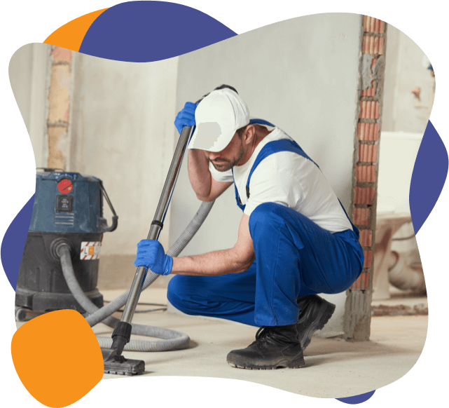 An enviropure home cleaning specialist cleans up after a home renovation