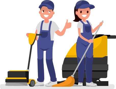 Illustration of Enviropure home cleaning professionals with floor cleaning equipment