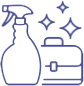 a spray bottle and tool kit logo that is sparkling clean